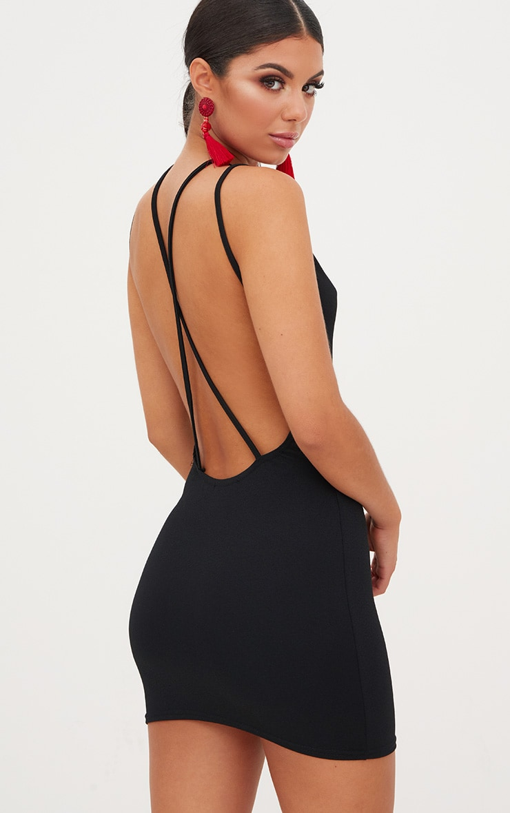 Black Strap Detail Low Back Bodycon Dress 1