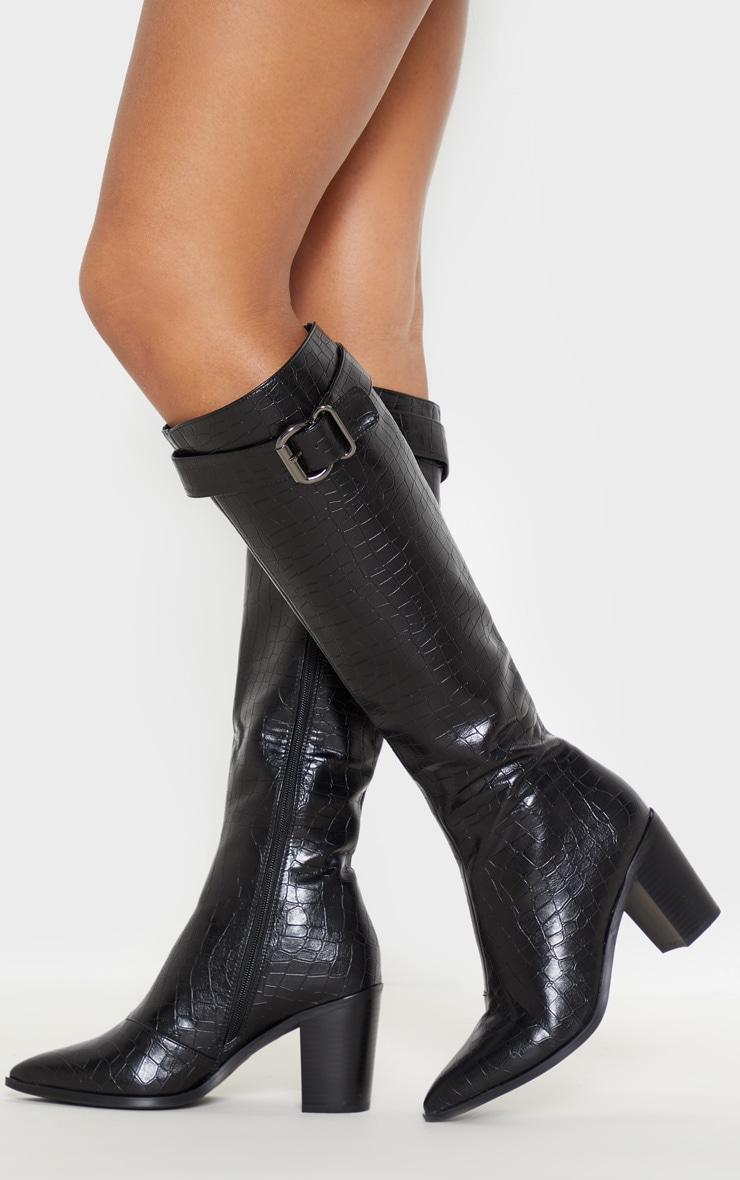 cb8092e51731 Black Croc Western Block Heel Calf Boot image 1