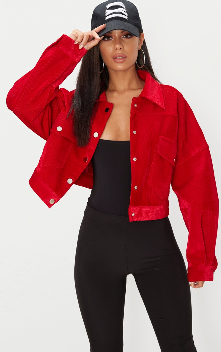 Red Cord Oversized Trucker Jacket 1