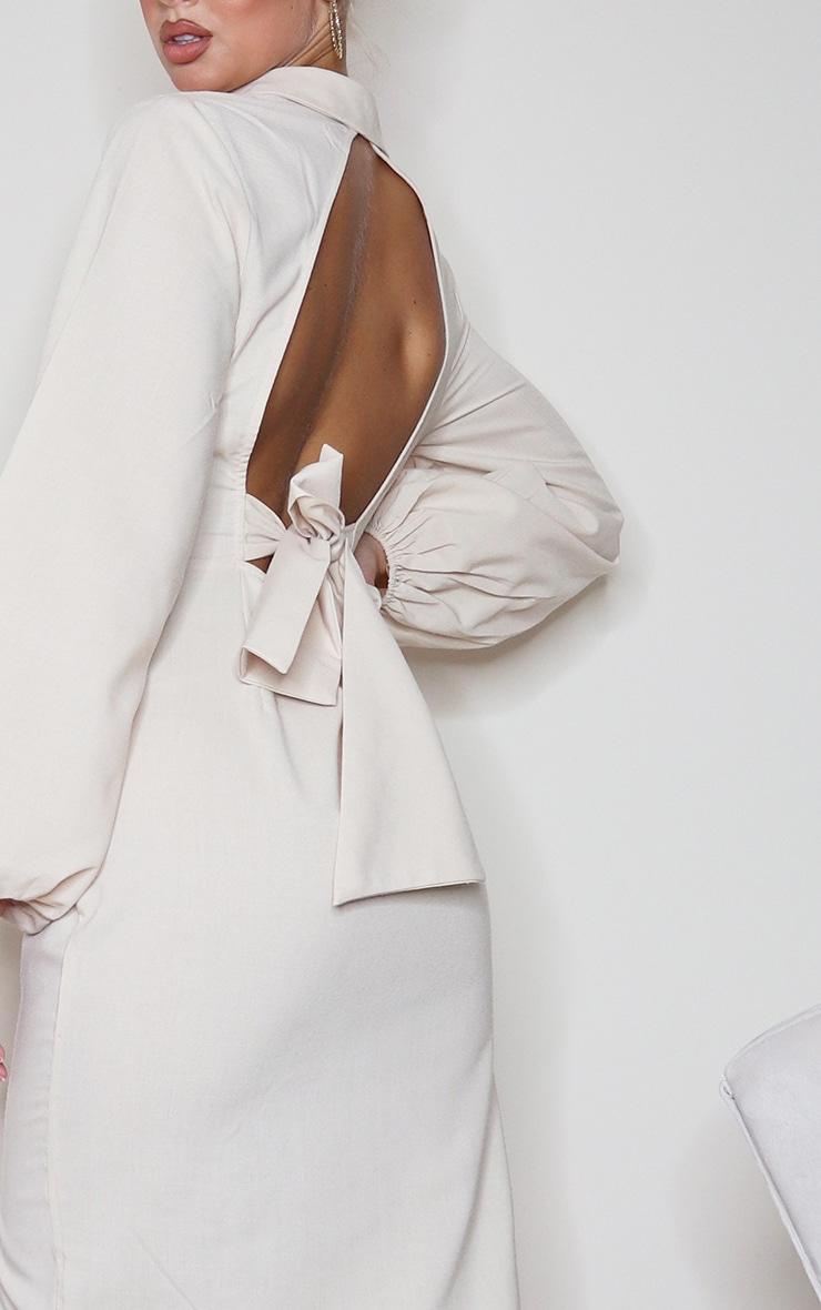 Stone Linen Mix Open Back Tie Detail Midi Dress 4