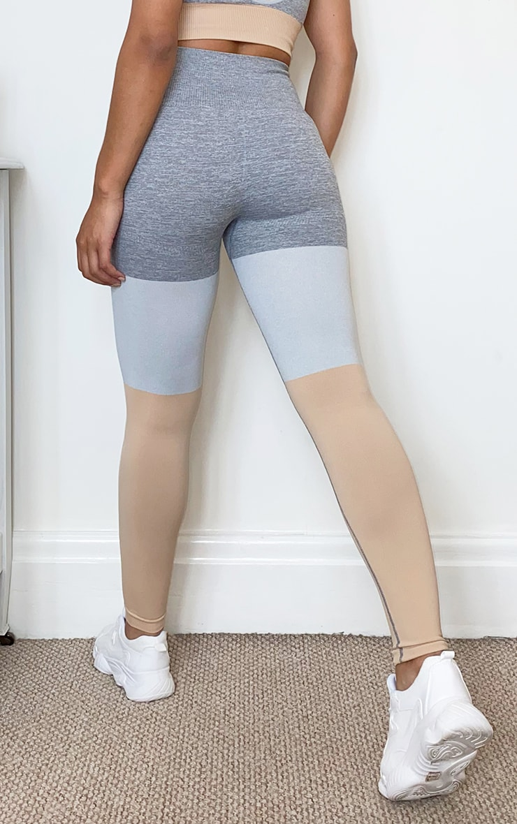 Grey Seamless 3 Tone Gym Leggings 3