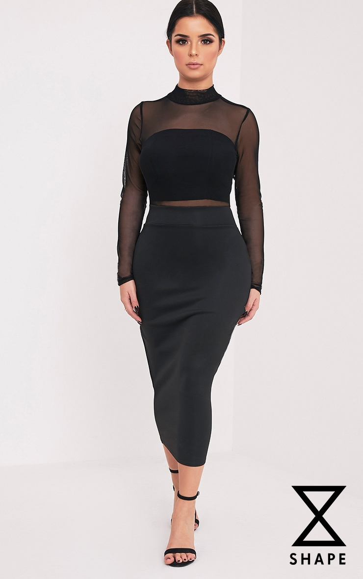 Shape Olivia Black Mesh Top Midi Dress  1