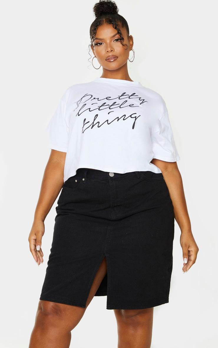 Plus Black Slit Detail Denim Midi Skirt 5