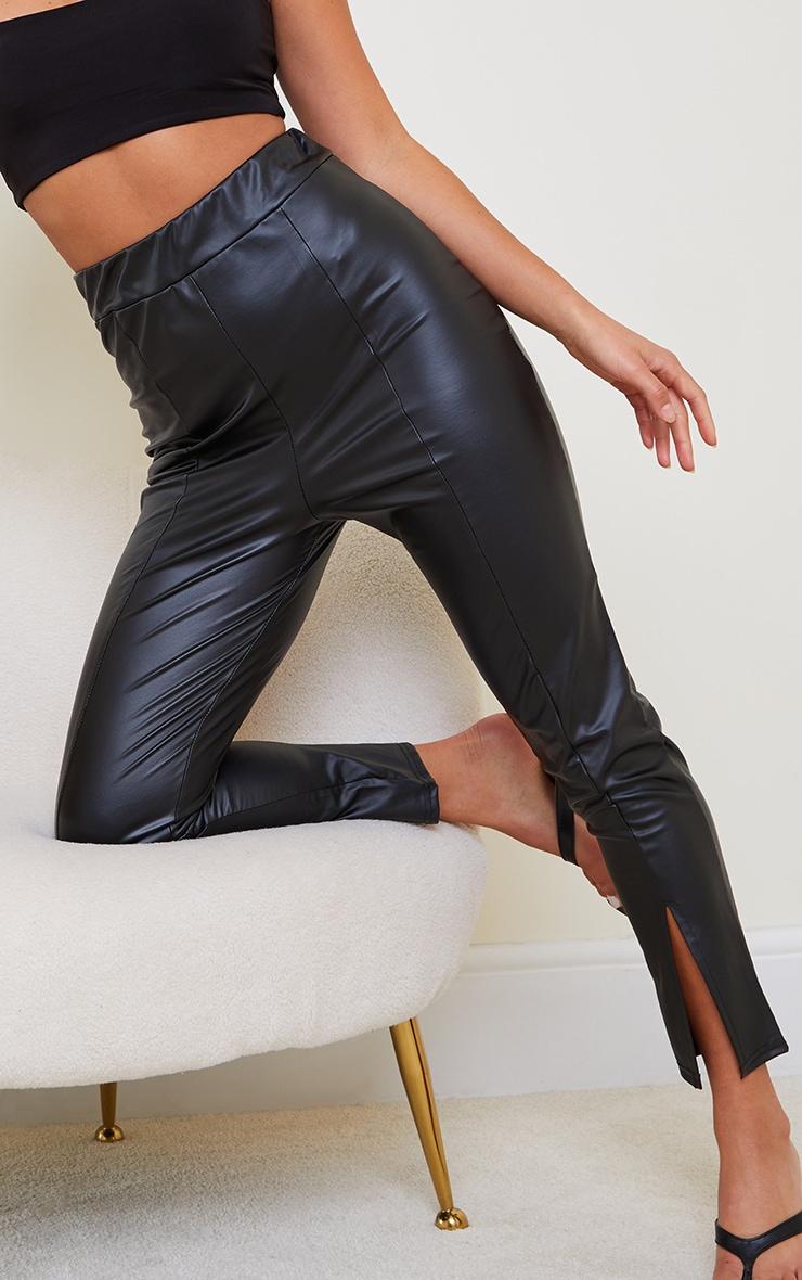 Petite Black Cropped Split Hem Pu Trouser 4