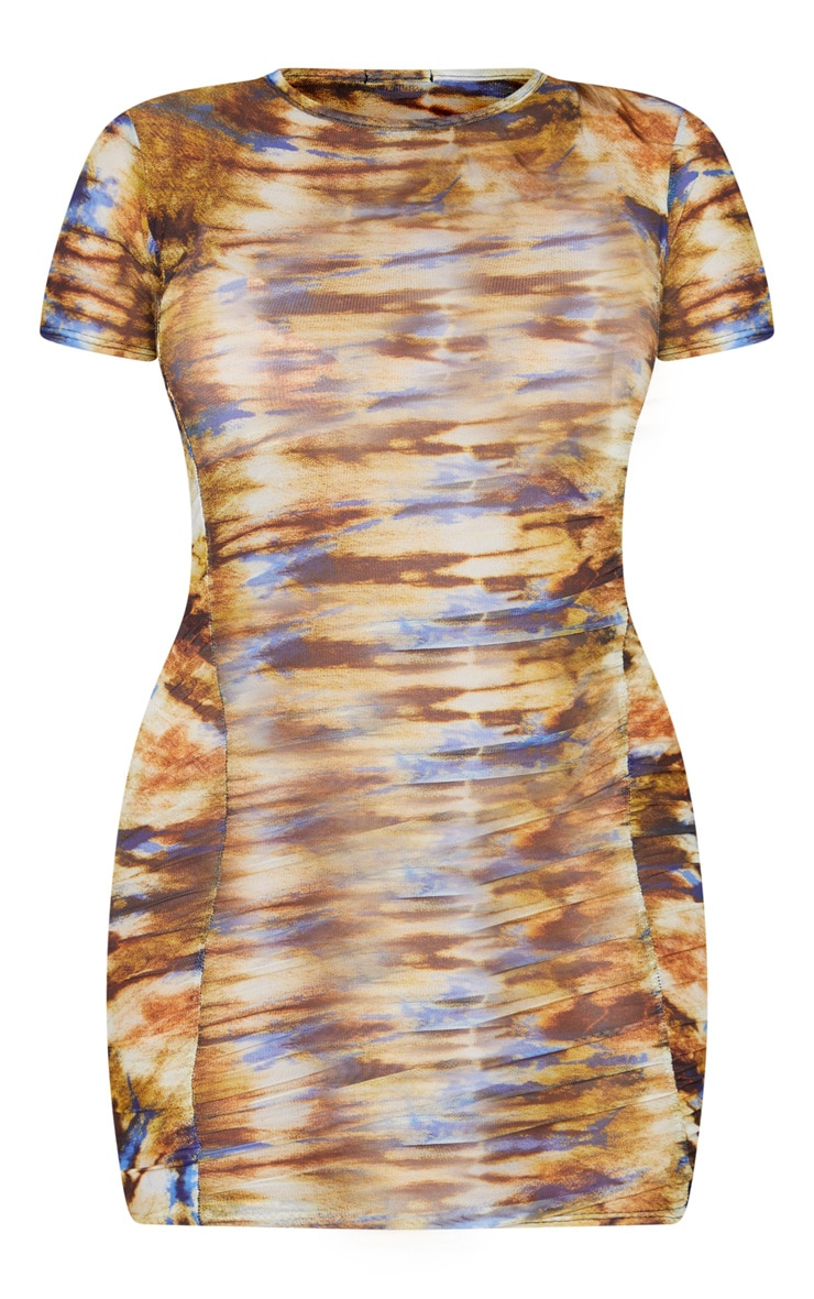 Multi Tie Dye Mesh Short Sleeve Ruched Bodycon Dress 5