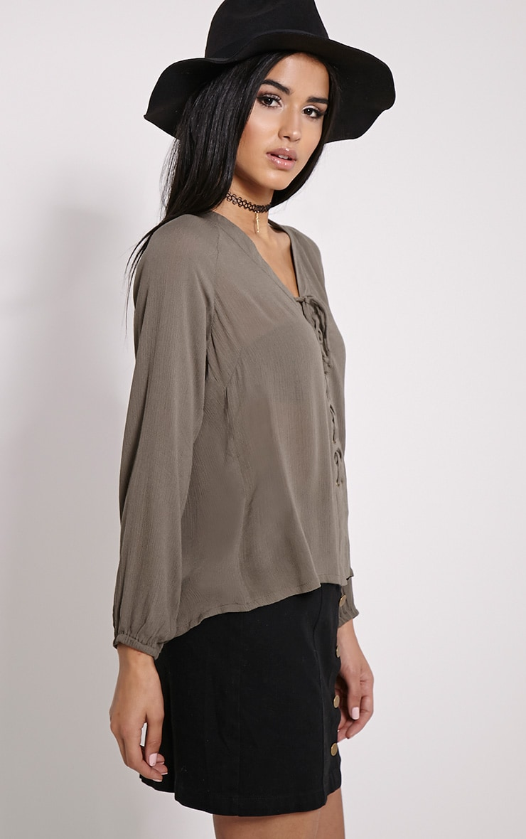 Ameena Khaki Lace Up Front Blouse 4