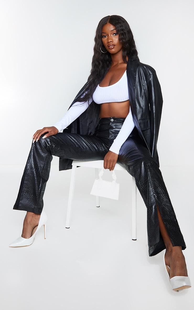 PREMIUM Black Faux Leather Croc Split Hem Skinny Trousers 1