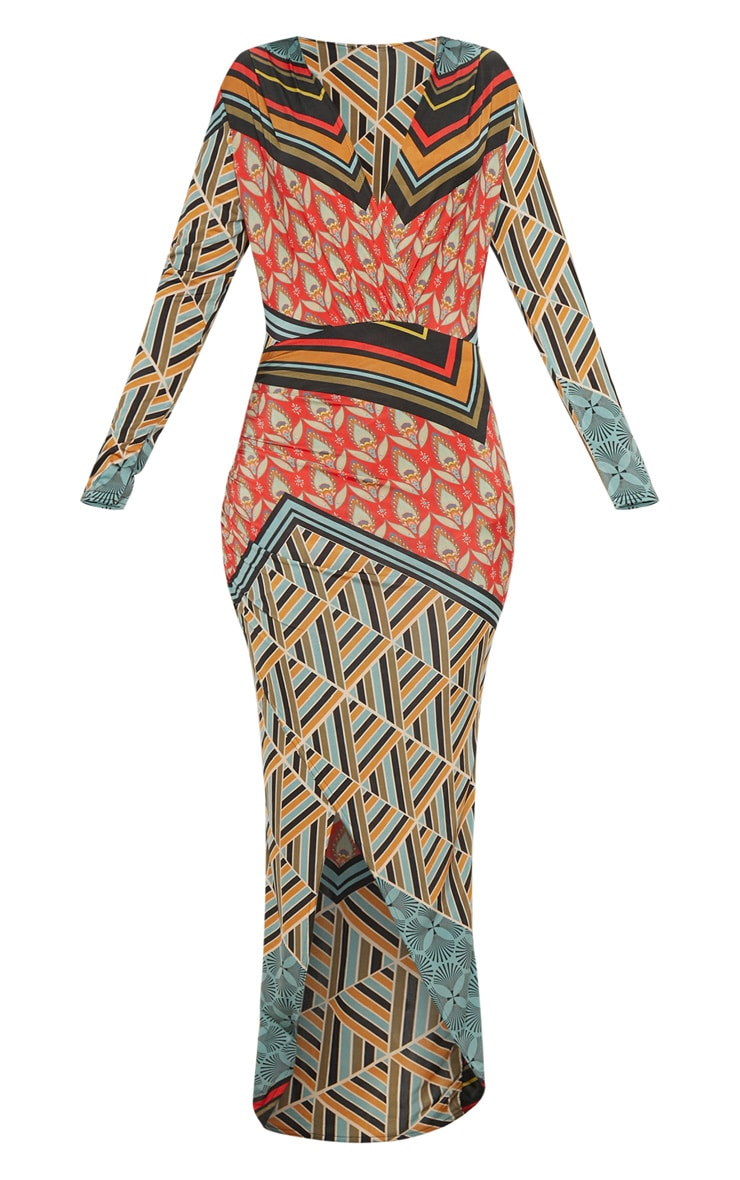 Multi Printed Plunge Wrap Front Maxi Dress 3