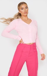 Baby Pink Button Front Cardigan 1