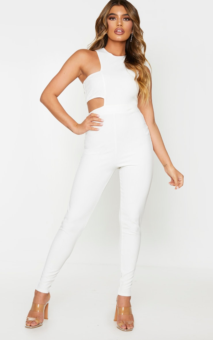 White Asymmetric One Shoulder Jumpsuit 1