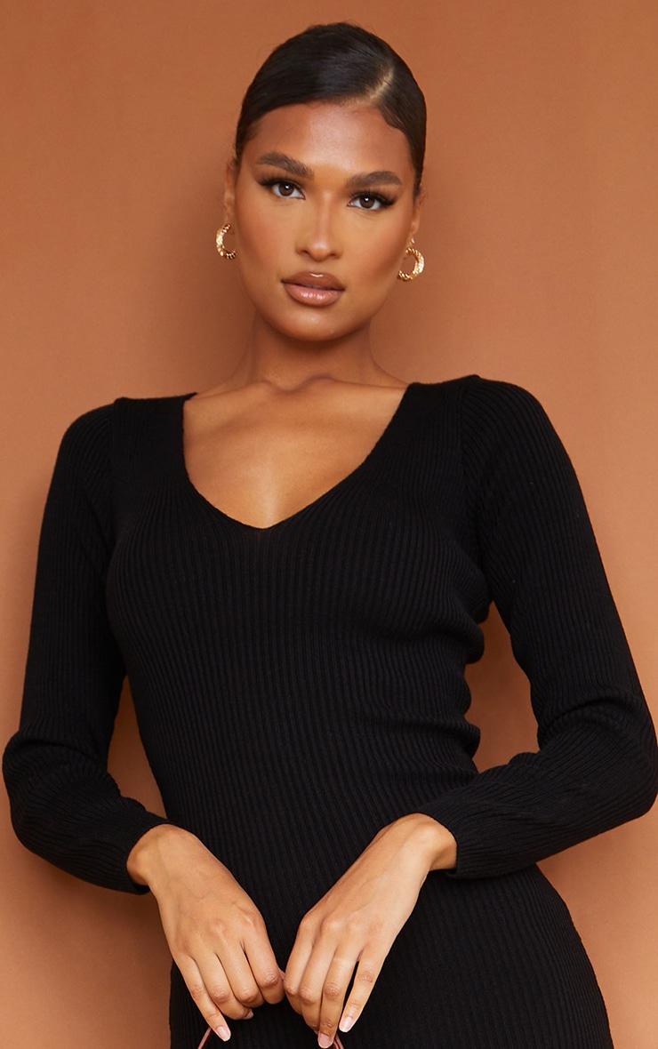 Black V Neck Knitted Midi Dress 5