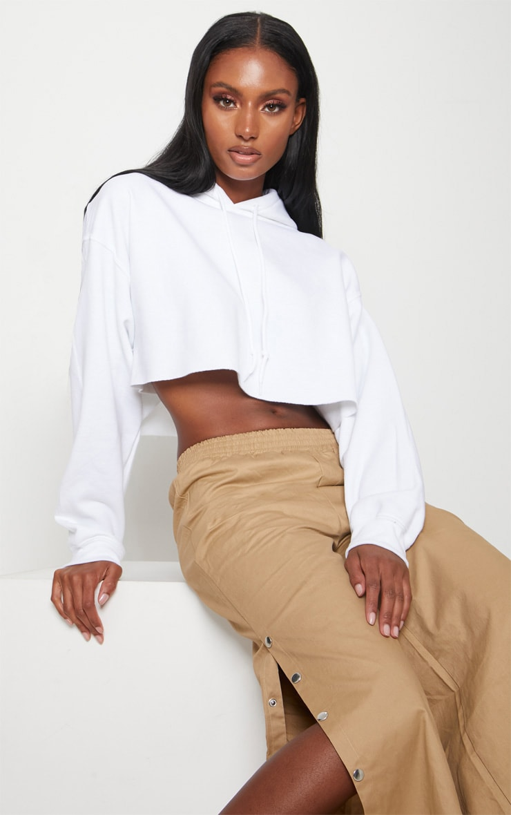 White Ultimate Oversized Crop Hoodie