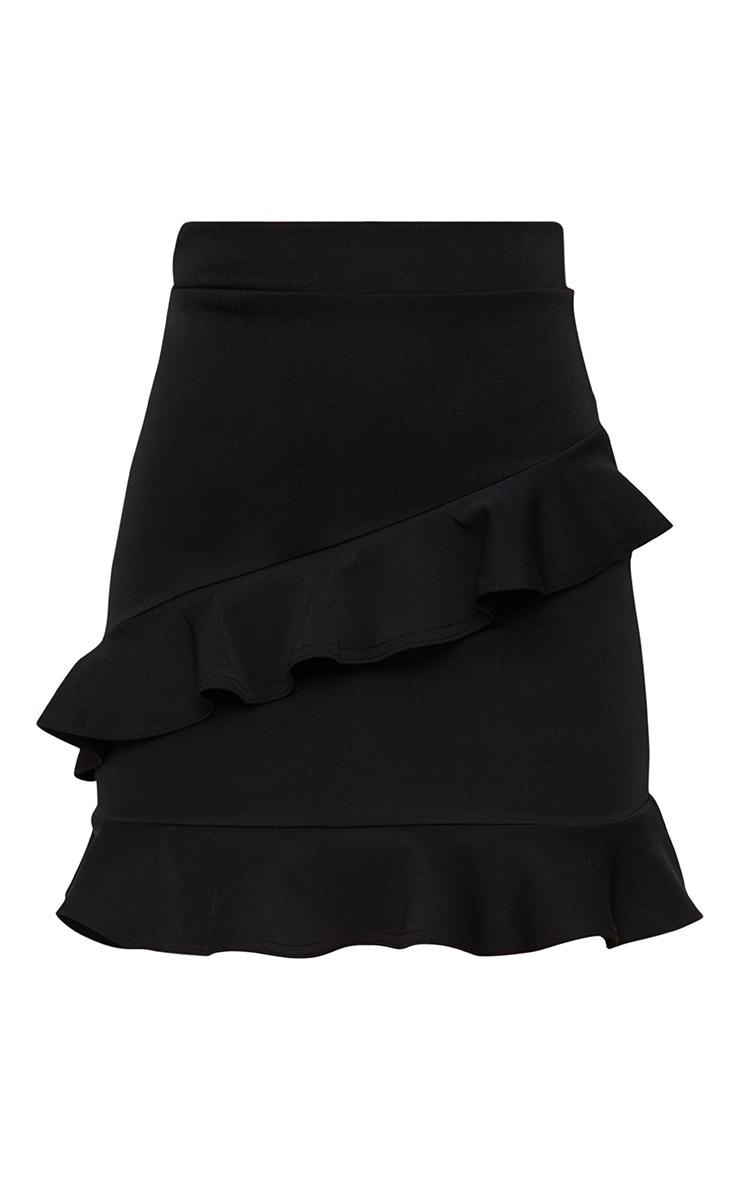 Black Scuba Double Frill Mini Skirt 3