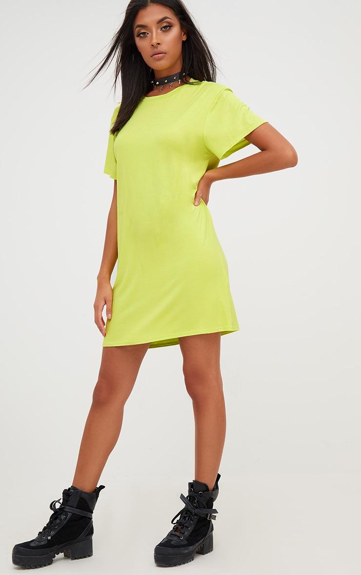 Basic Acid Green Short Sleeve T-Shirt Dress 1