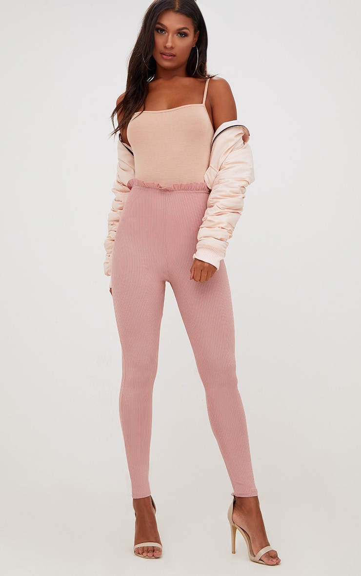 Light Pink Ribbed Shimmer Paperbag Leggings 1