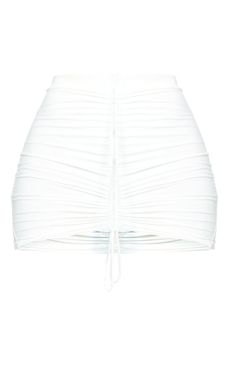 Shape White Slinky Ruched Front Bodycon Skirt 6