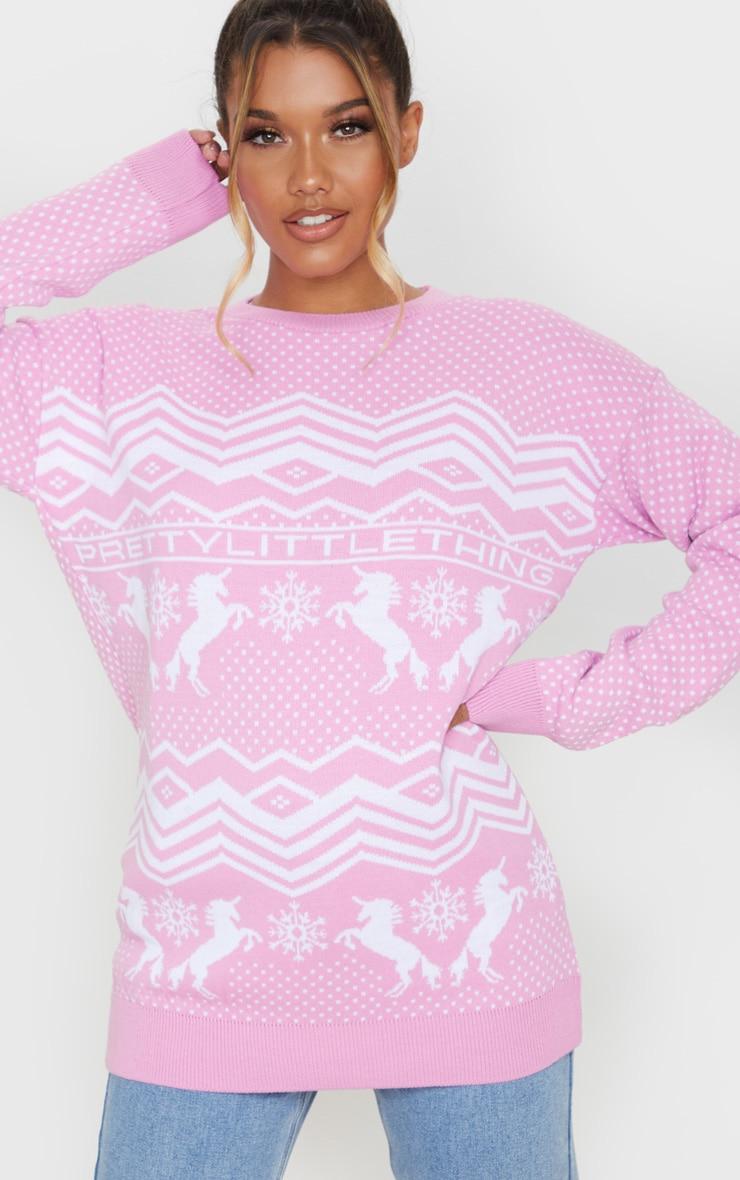 PRETTYLITTLETHING Pink Christmas Unicorn Print Jumper 5