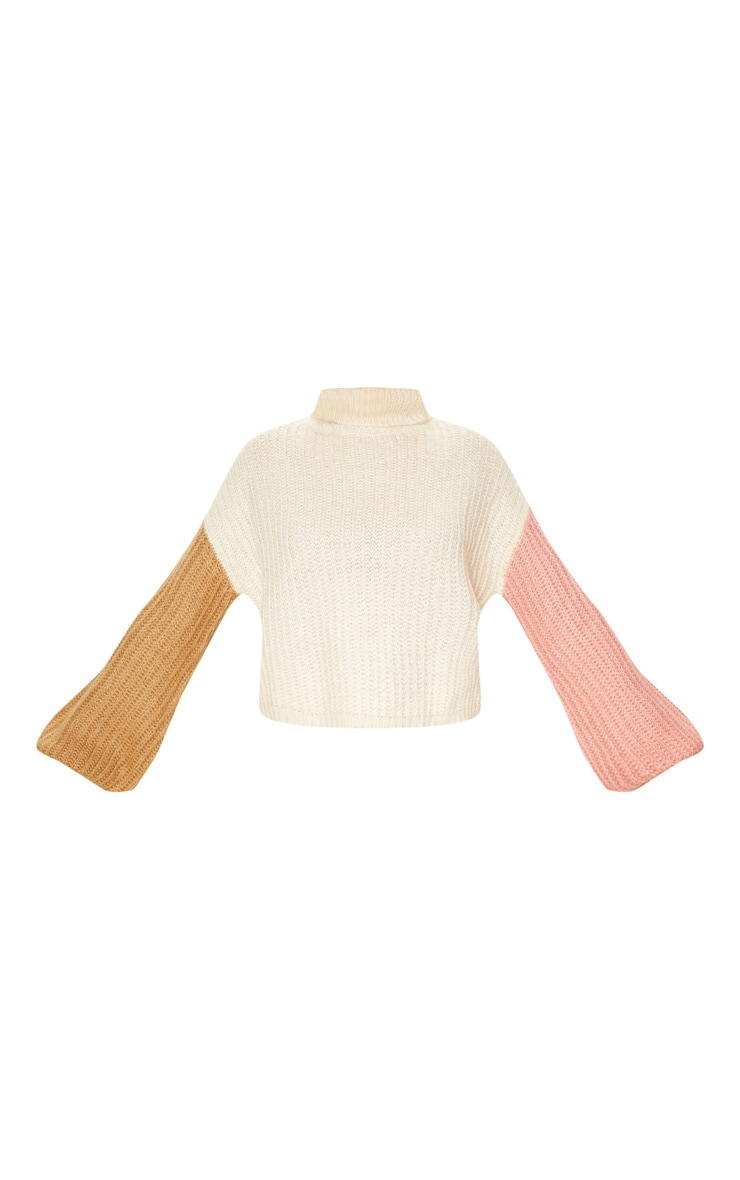 Cream Colour Block Fluffy Knit Sweater 3