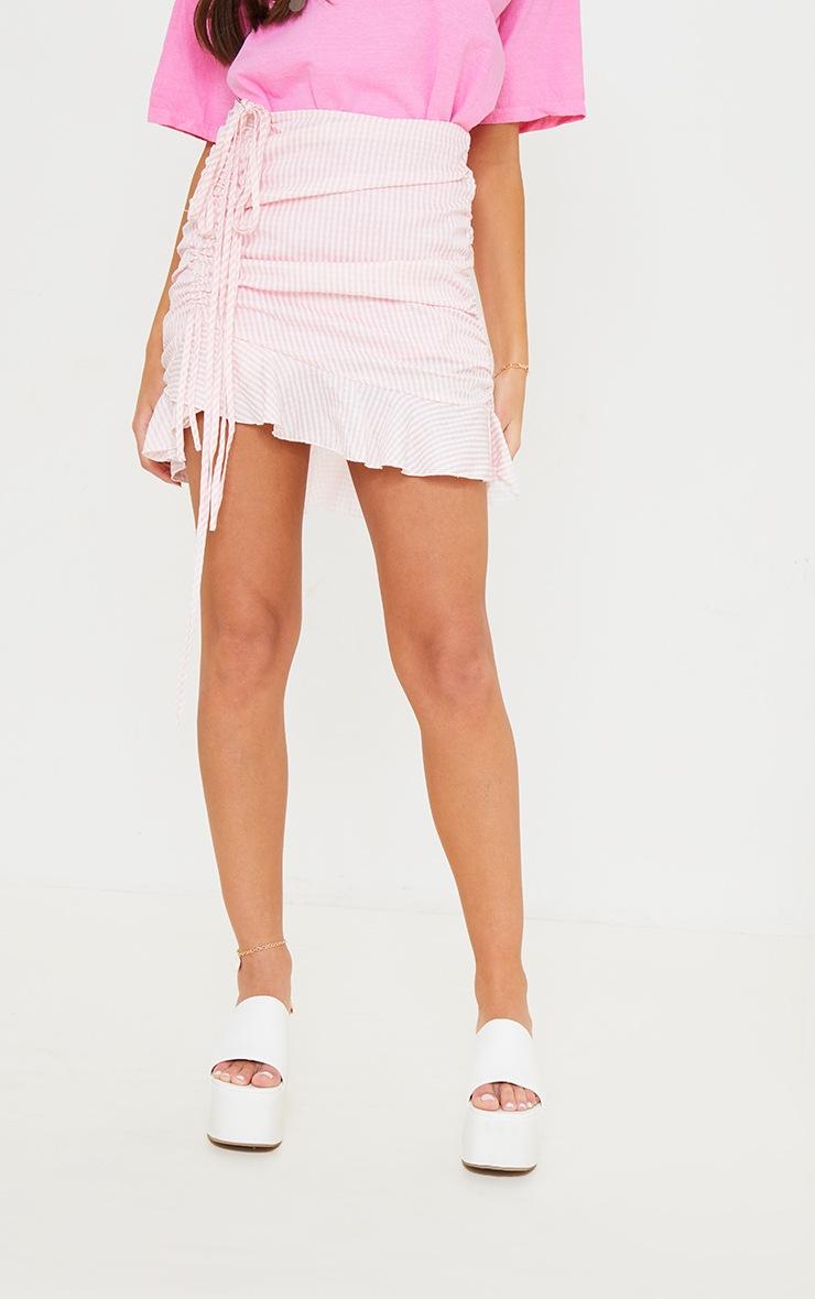 Mini-jupe froncée rose imprimé vichy en maille tissée 2