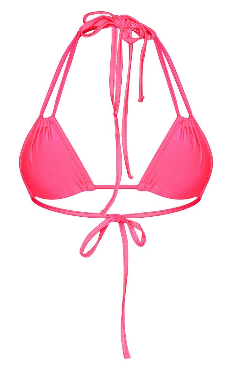 Bright Pink Halterneck Mini Ruched Triangle Bikini Top 6