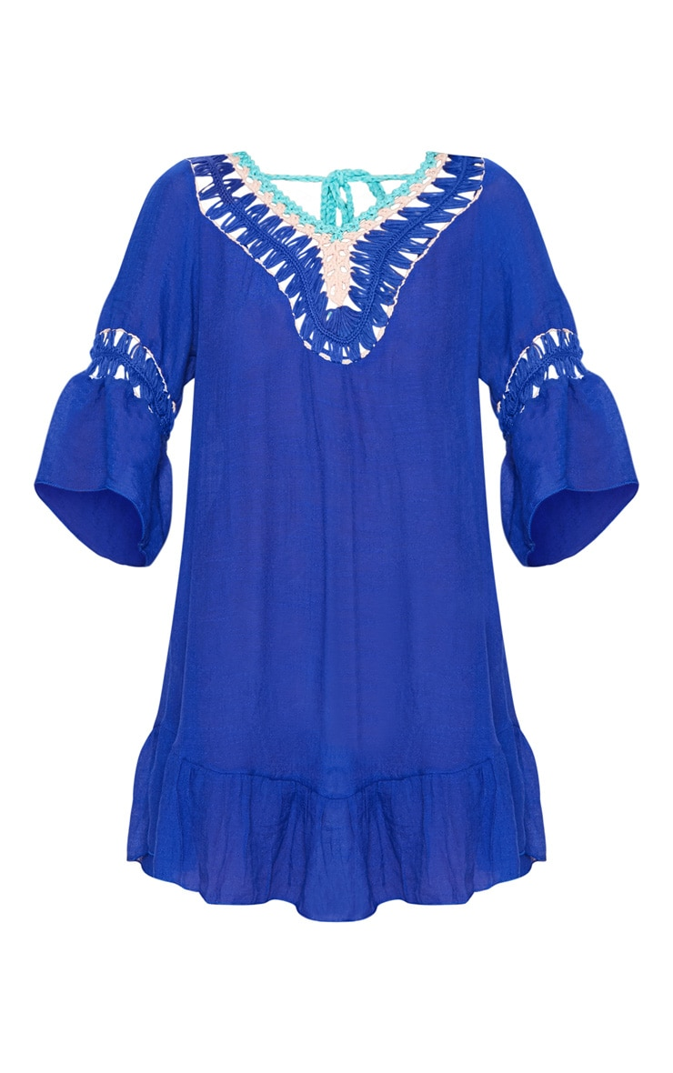 Cobalt Pom Pom Crochet Back Frill Hem Sheer Shift Dress 3