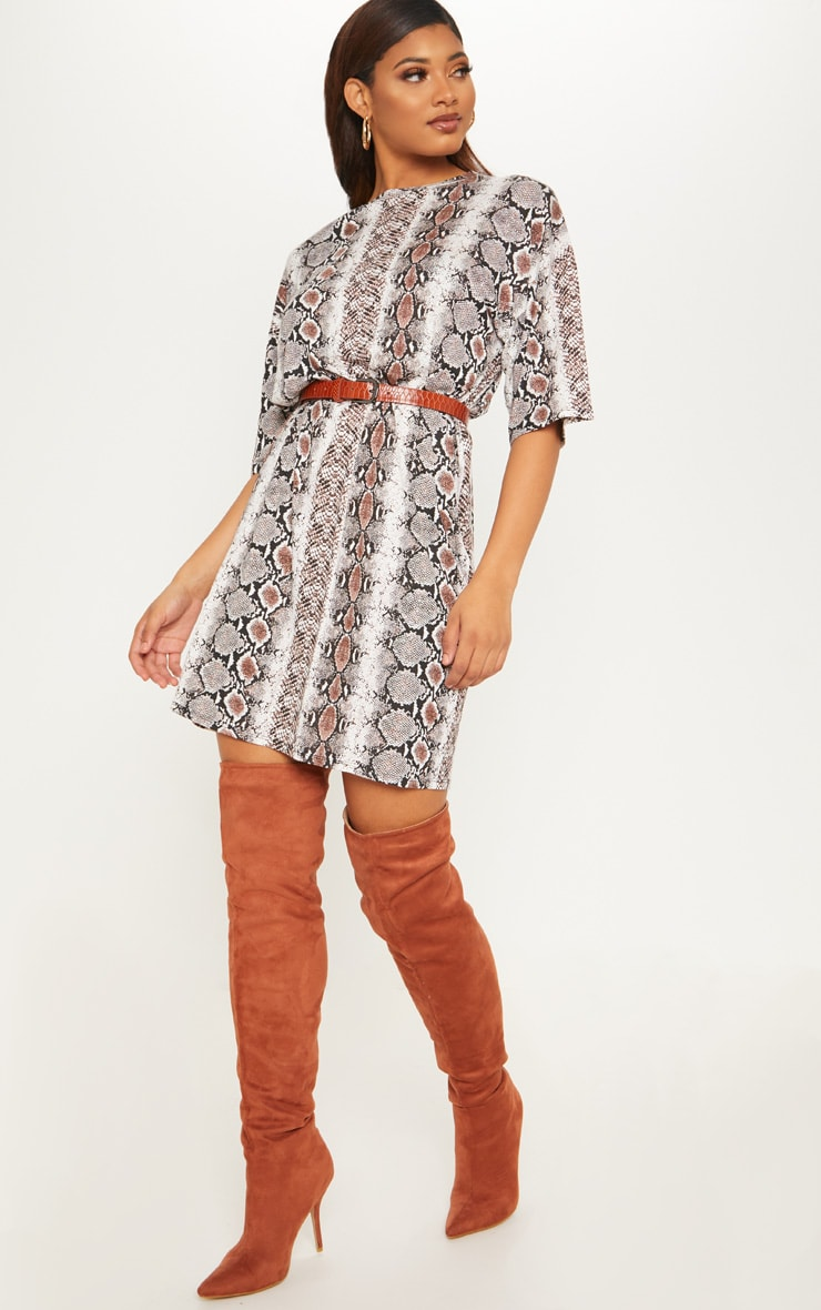 Tall Snake Print Oversized T-Shirt Dress 4