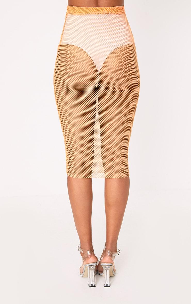 Orange Fishnet Midi Skirt 4