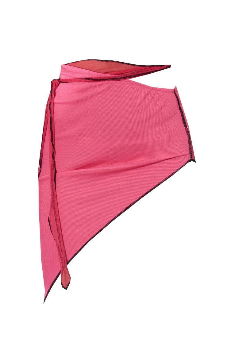 Hot Pink Contrast Stitch Asymmetric Midi Skirt 5