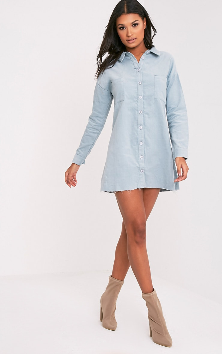 Tiyra Pale Blue Corduroy Shirt Dress 4