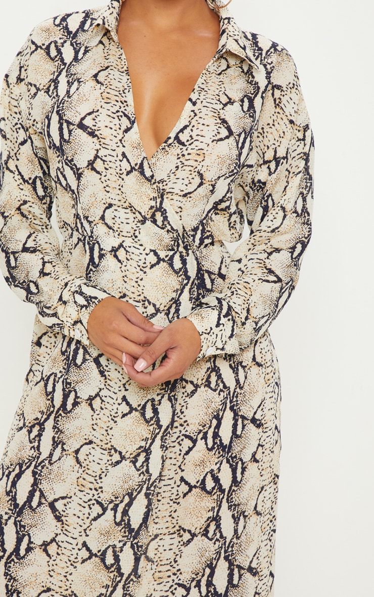 Petite Taupe Snake Print Wrap Midi Dress 5