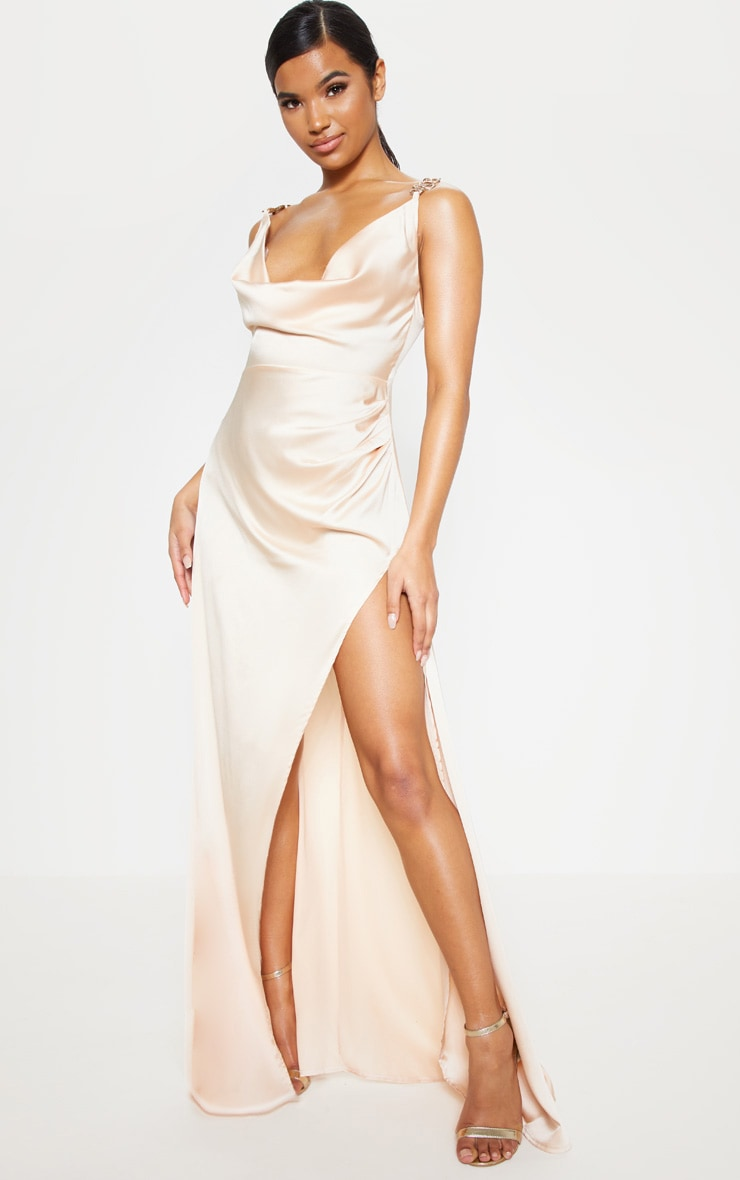 Champagne Satin Cowl Gold Snake Buckle Detail Maxi Dress 1