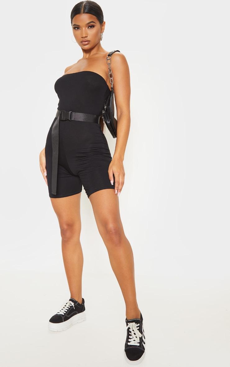 Combinaison bandeau moulante noire à coupe skinny  4