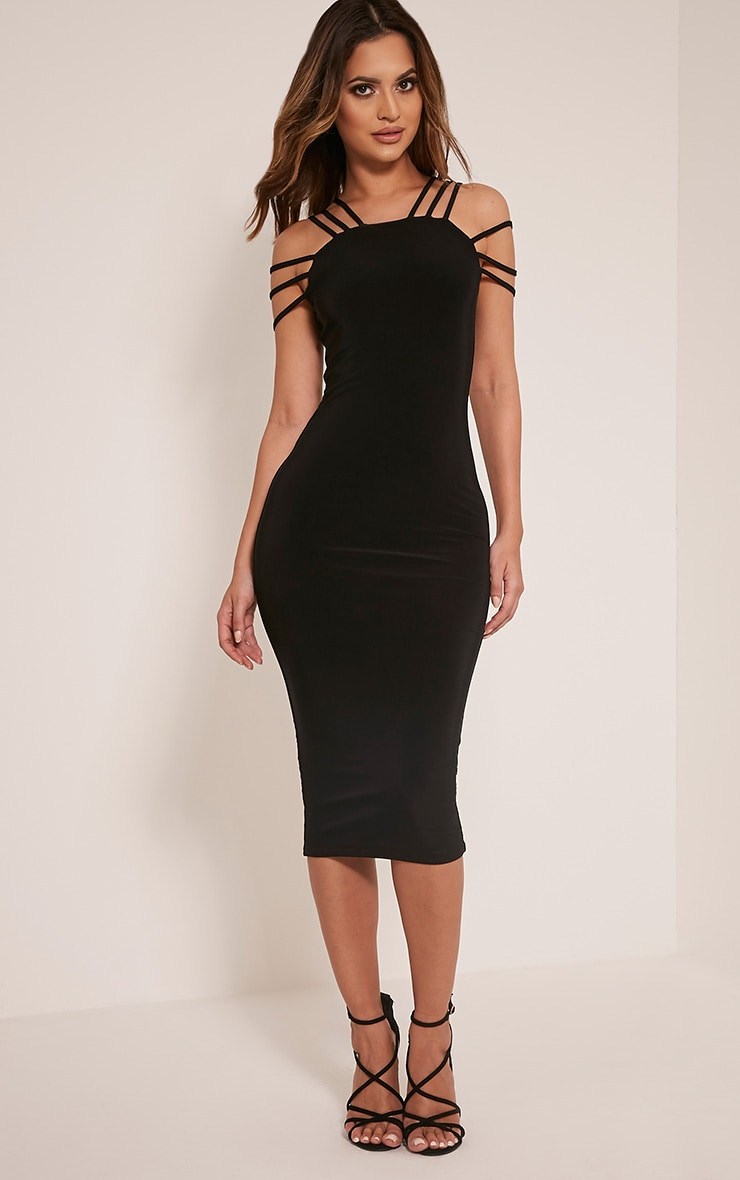 Kellia Black Multi Strap Detail Midi Dress 1