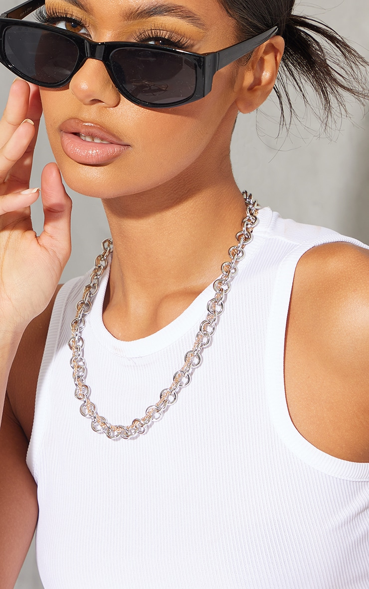 Mixed Metal Round Twisted Link Chain Necklace 1