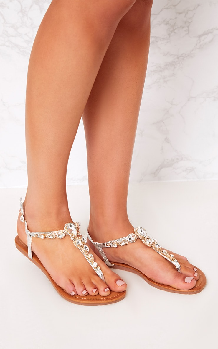 Adela Silver Jewelled Sandals 3