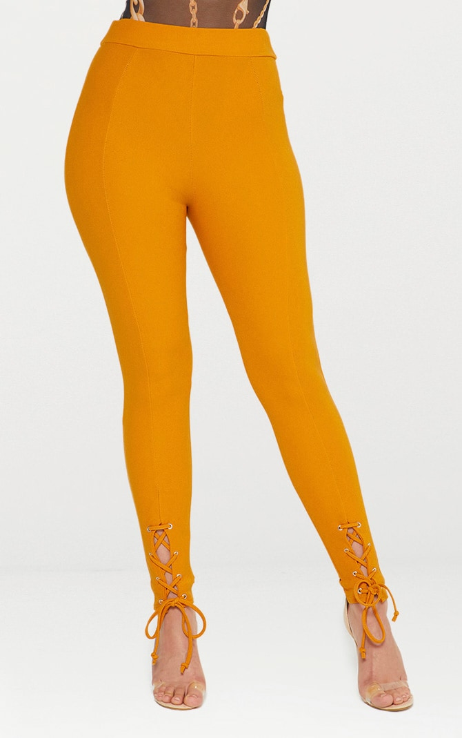 Mustard Lace Up Hem Skinny Trousers 2