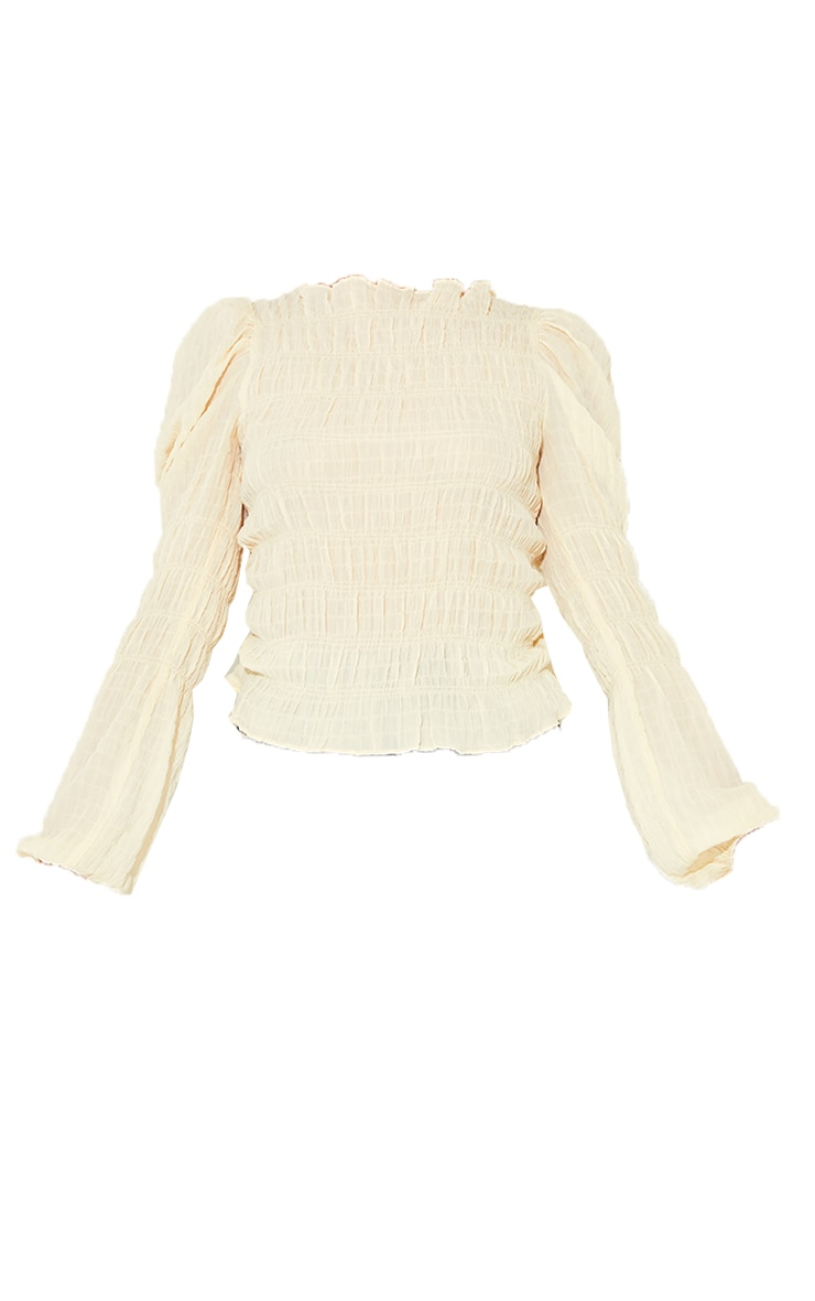 Sand Woven Shirred Long Sleeve Blouse 5
