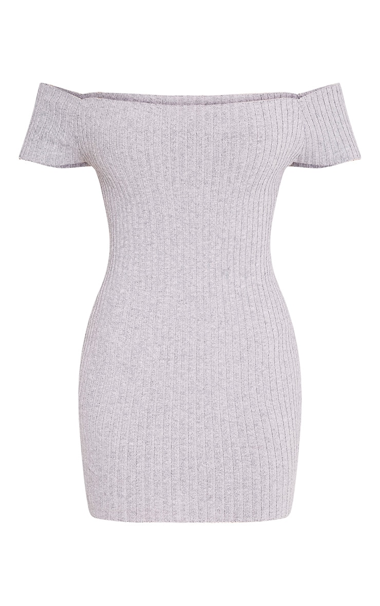 Jordi robe mini bardot grise tricotée et côtelée 3
