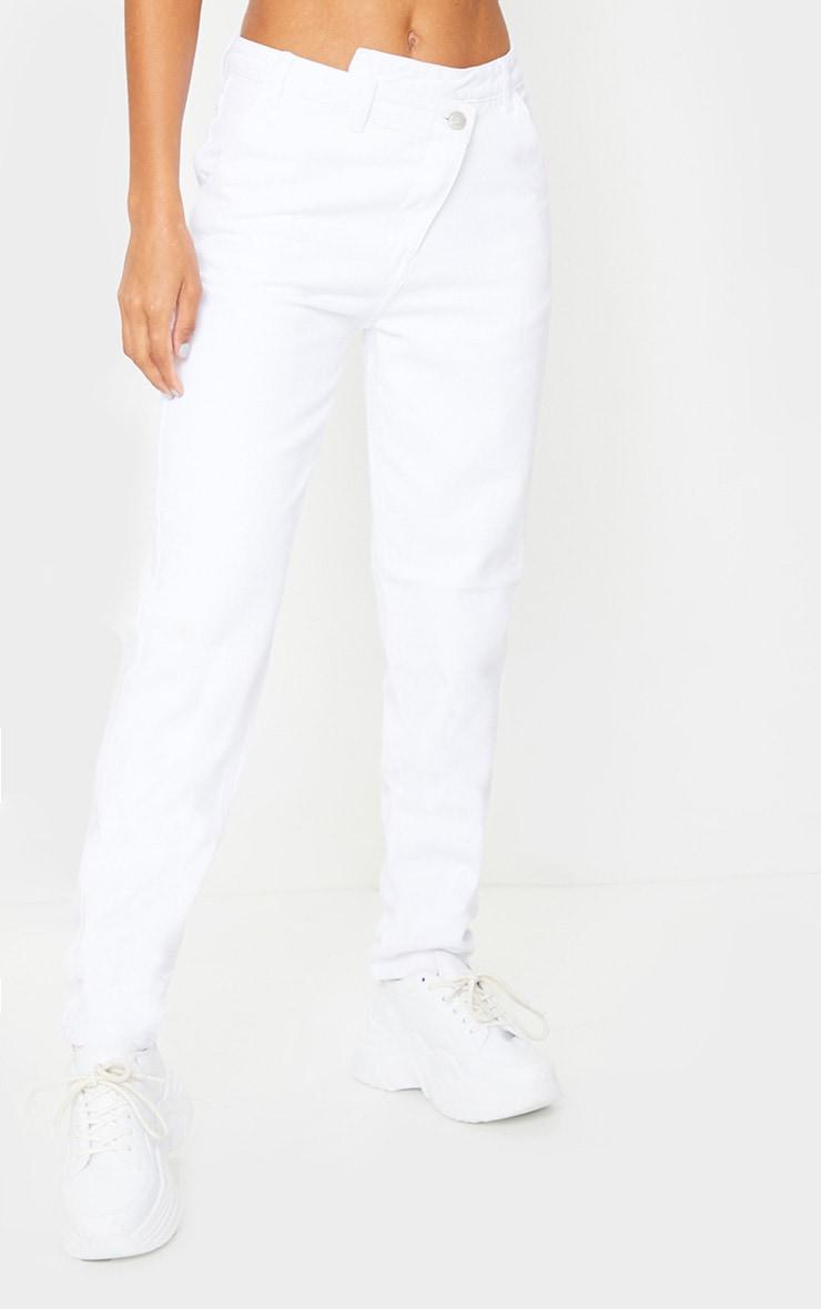White Asymmetric Waistband Jeans 2