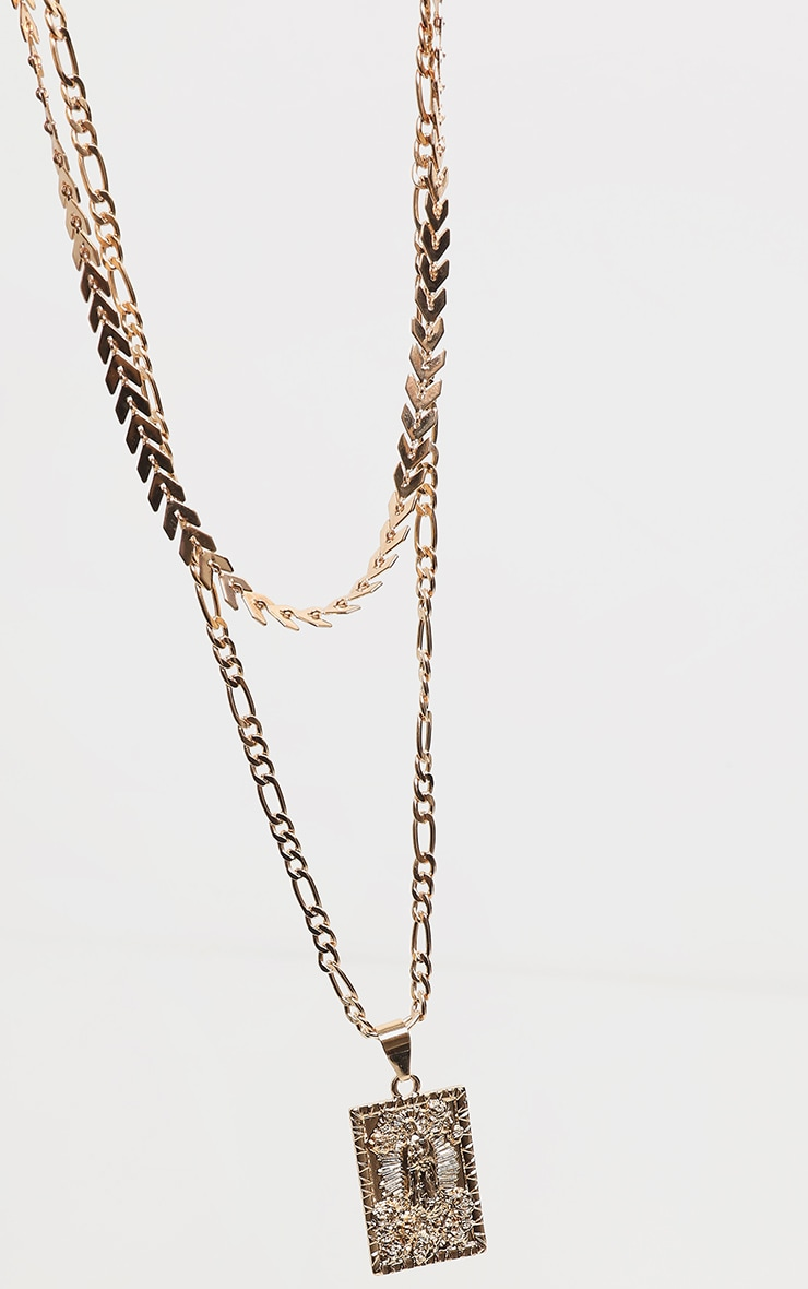 Gold Double Layer Renaissance Layering Necklace 3