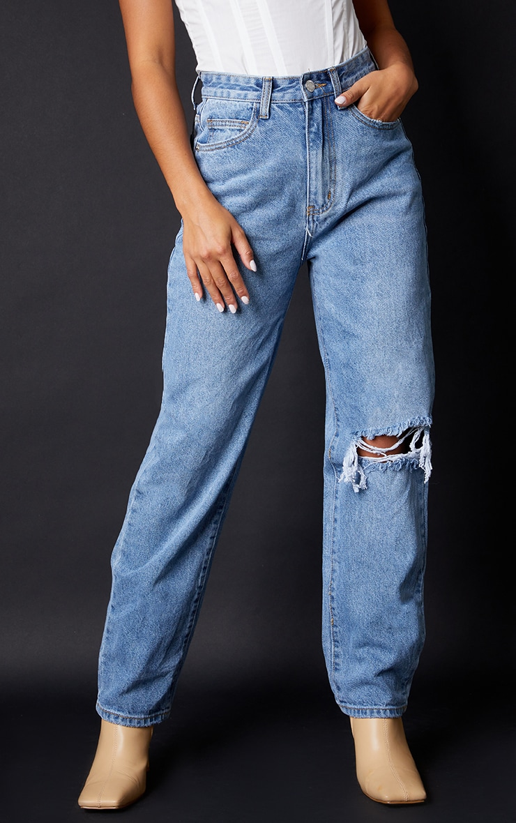 Petite Light Blue Wash Open Knee Leg Straight Jean 2