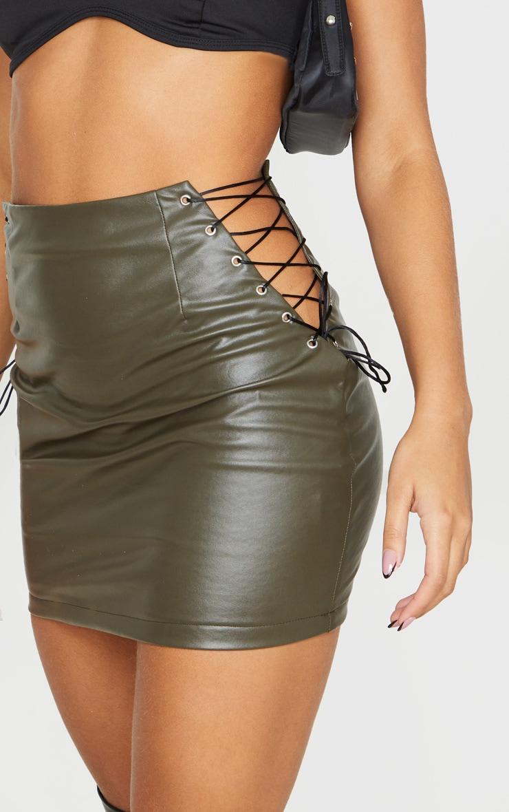 Khaki Faux Leather Lace Up Side Mini Skirt 5