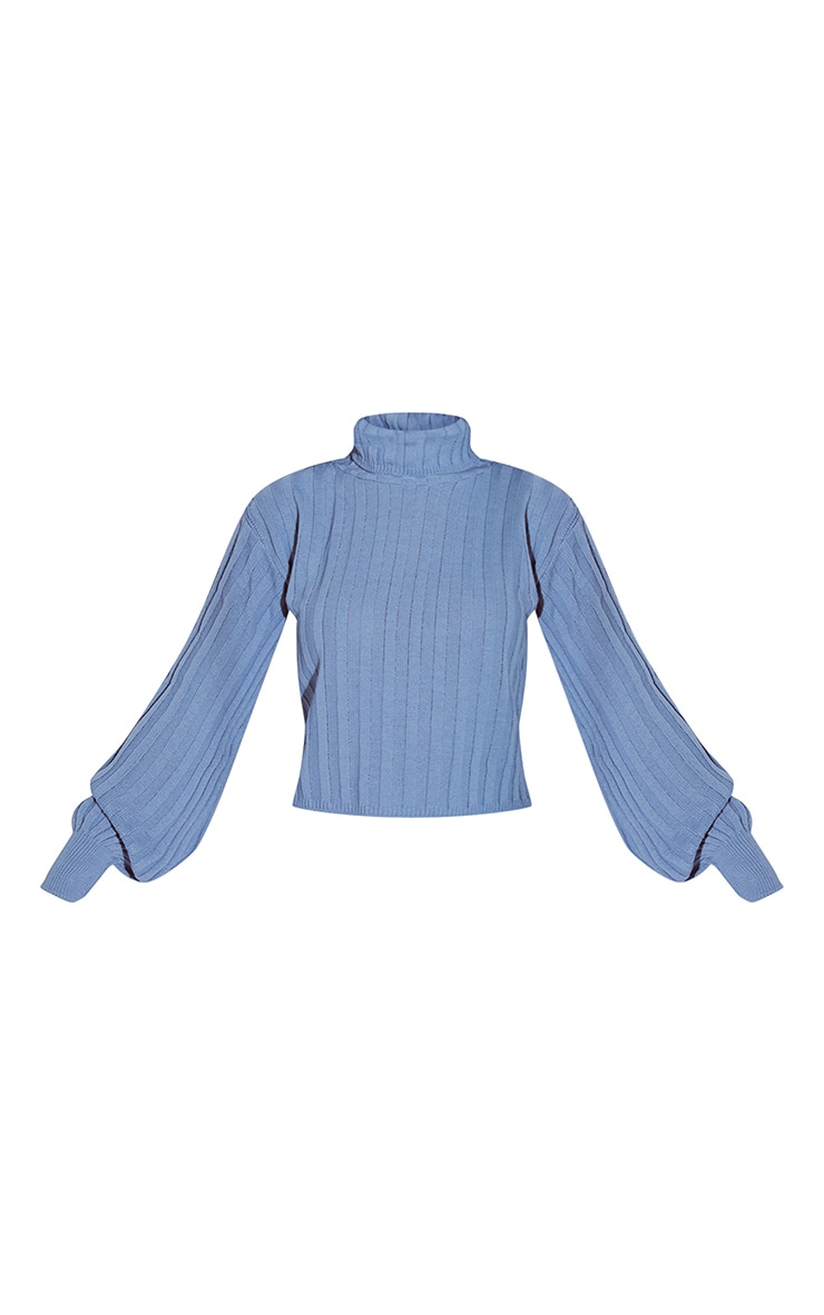 Dusty Blue Balloon Sleeve Roll Neck Ribbed Sweater 5
