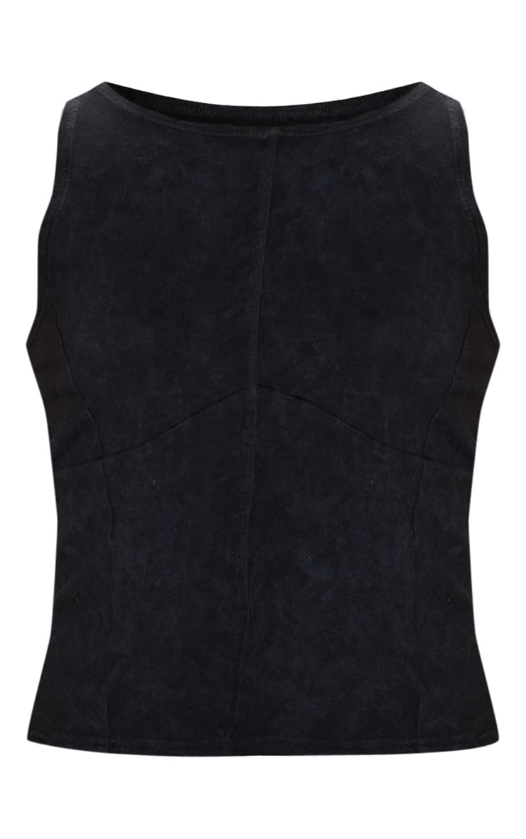 Navy Tie Dye Stitch Detail Vest 3