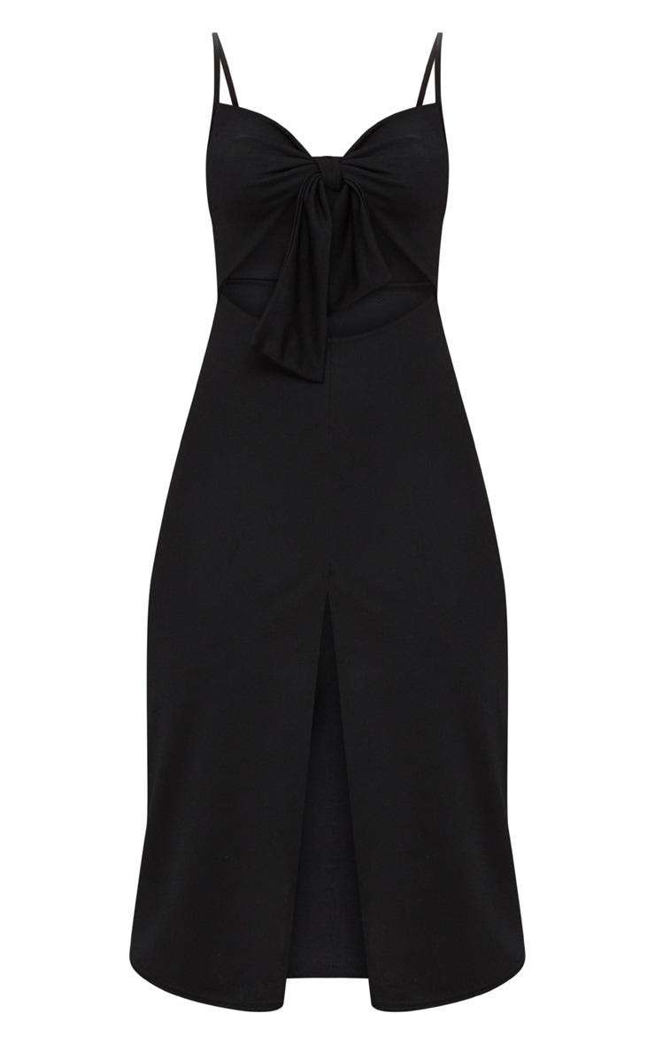 Robe trapèze noire à bretelles à nouer devant  3