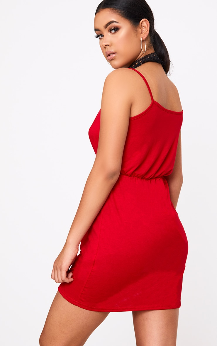 Red Jersey Wrap Shift Dress 2
