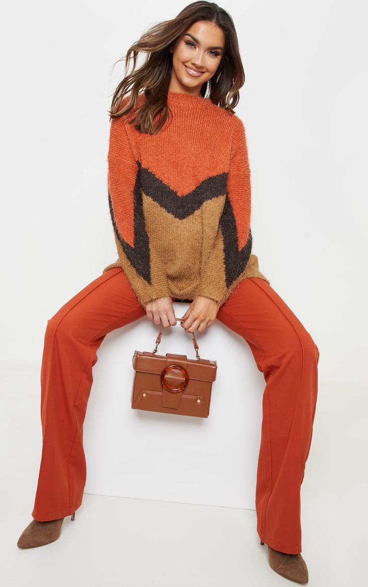 24cee8d46f4fc Brown Eyelash Chevron Knitted Jumper 1
