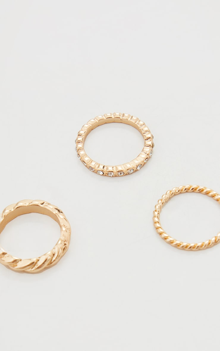 Gold 3 Pain Twist And Diamante Rings 3