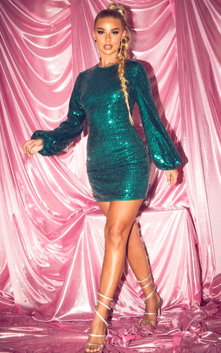 Emerald Green Balloon Sleeve Sequin Bodycon Dress 4