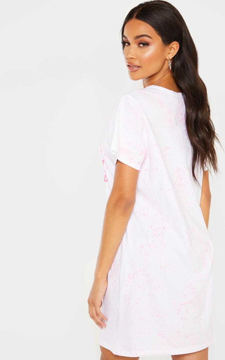 White 1994 Slogan Neon Splatter Oversized T Shirt Dress 2